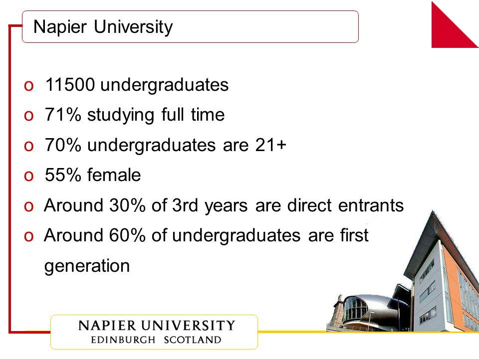 o 11500 undergraduates o 71% studying full time o 70% undergraduates are 21+ o 55% female o Around 30% of 3rd years are direct entrants o Around 60% of undergraduates are first generation Napier University