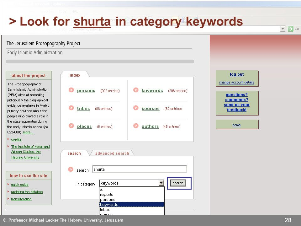 > Look for shurta in category keywords 28 © Professor Michael Lecker The Hebrew University, Jerusalem