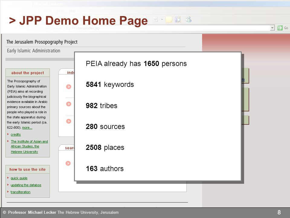 © Professor Michael Lecker The Hebrew University, Jerusalem 8 > JPP Demo Home Page PEIA already has 1650 persons 5841 keywords 982 tribes 280 sources 2508 places 163 authors