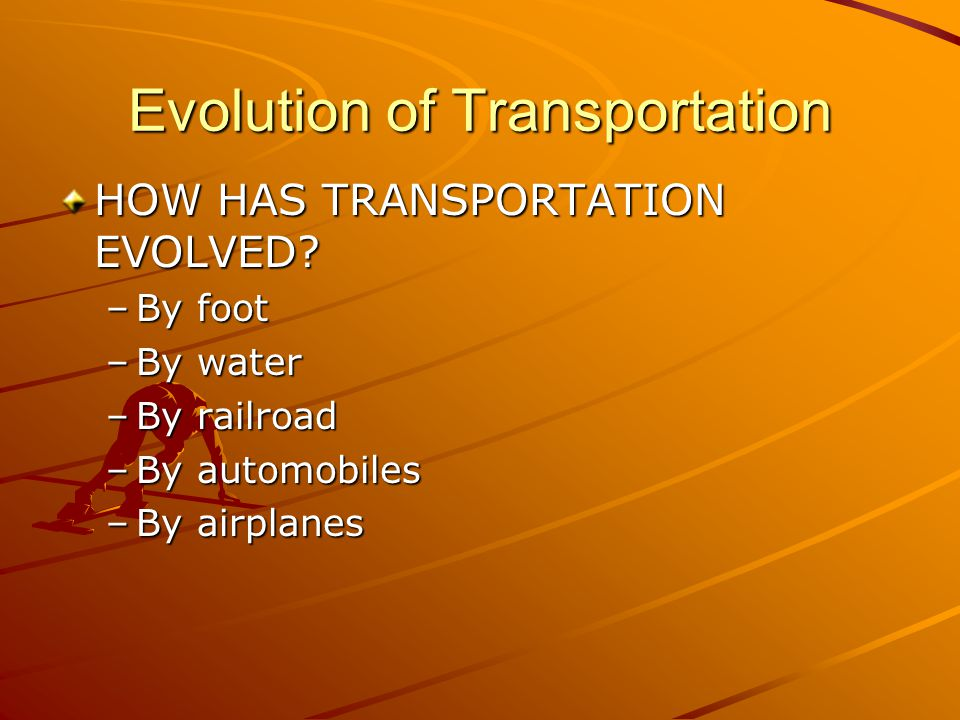 Evolution of Transportation HOW HAS TRANSPORTATION EVOLVED.