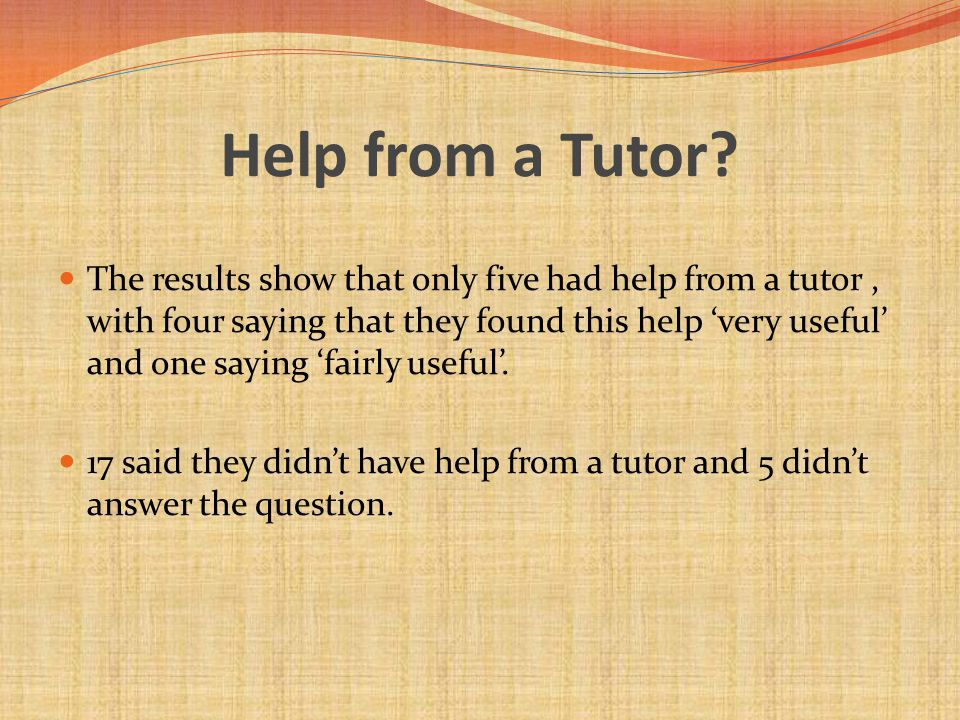 Help from a Tutor.