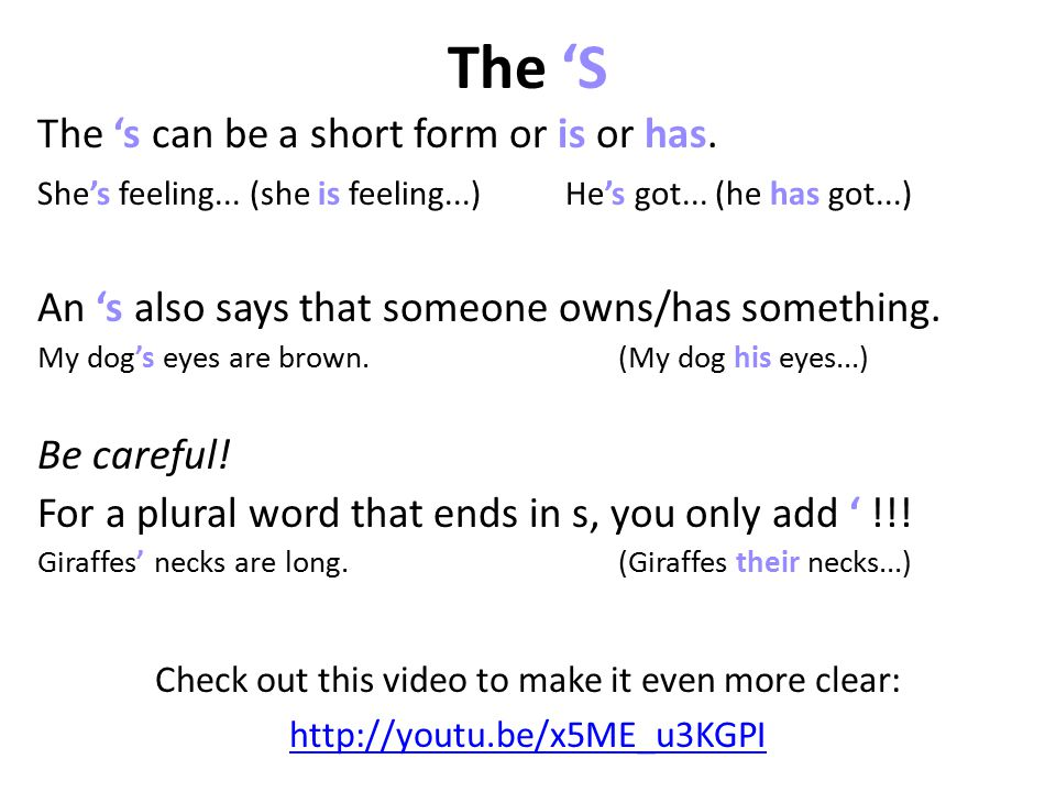 The 'S Check out this video to make it even more clear: http://youtu.be/x5ME_u3KGPI The 's can be a short form or is or has.