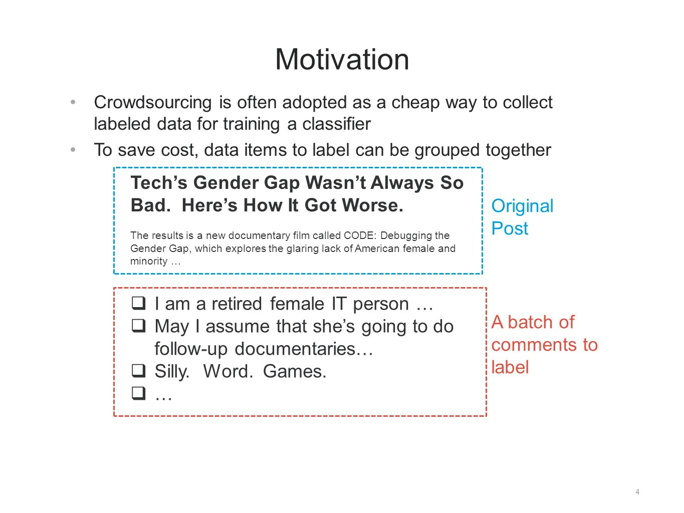 4 Motivation Crowdsourcing is often adopted as a cheap way to collect labeled data for training a classifier To save cost, data items to label can be grouped together A batch of comments to label Original Post Tech's Gender Gap Wasn't Always So Bad.