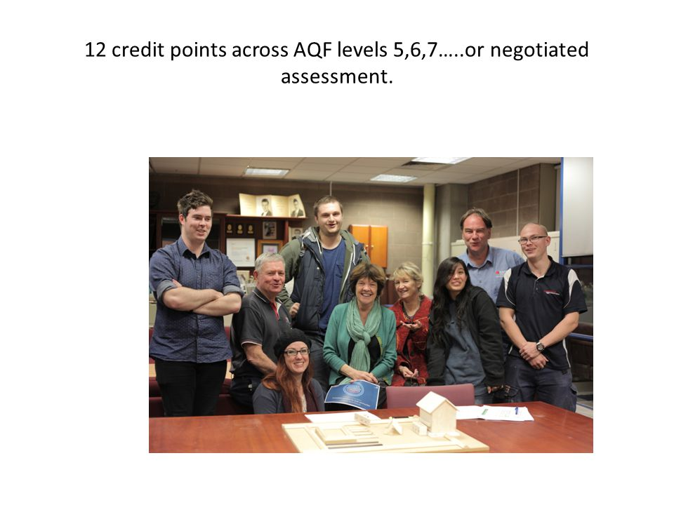 12 credit points across AQF levels 5,6,7…..or negotiated assessment.