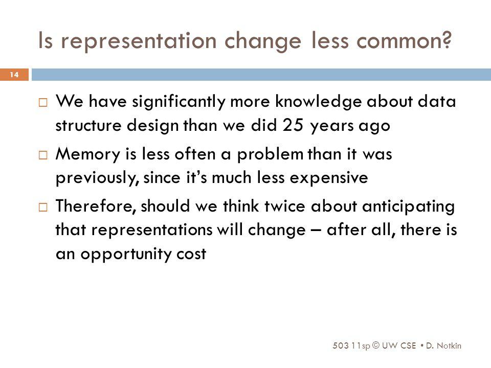 Is representation change less common.