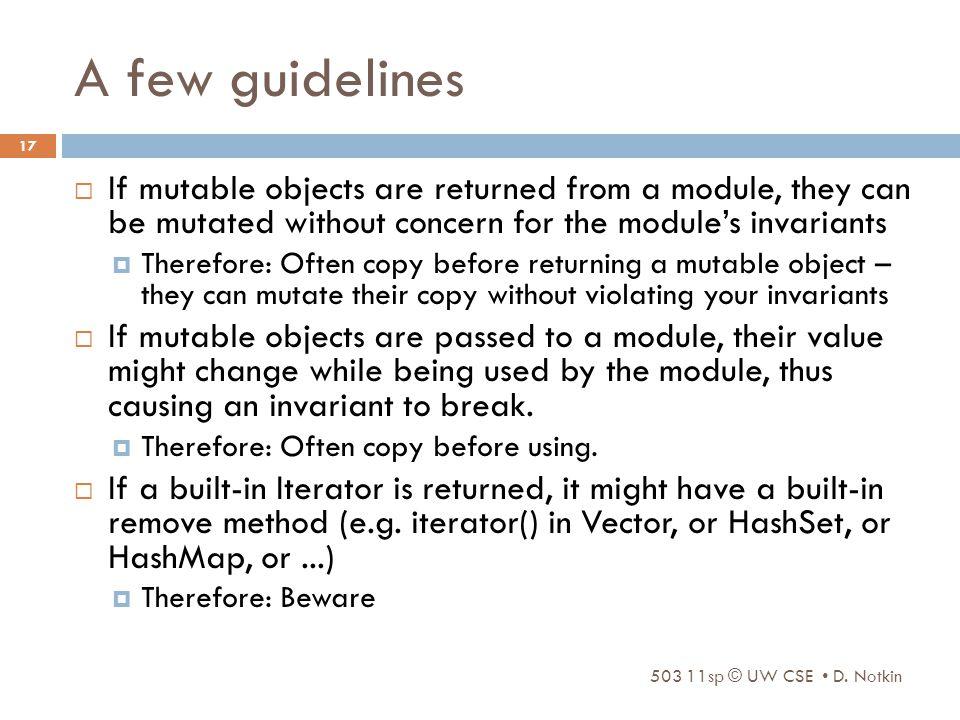 A few guidelines 503 11sp © UW CSE D.