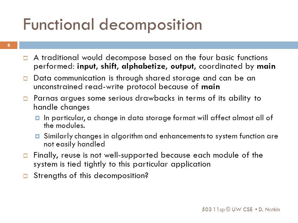 Functional decomposition 503 11sp © UW CSE D.