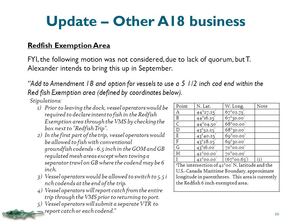 Update – Other A18 business Redfish Exemption Area FYI, the following motion was not considered, due to lack of quorum, but T.