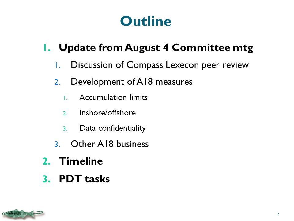 Outline 1. Update from August 4 Committee mtg 1. Discussion of Compass Lexecon peer review 2.