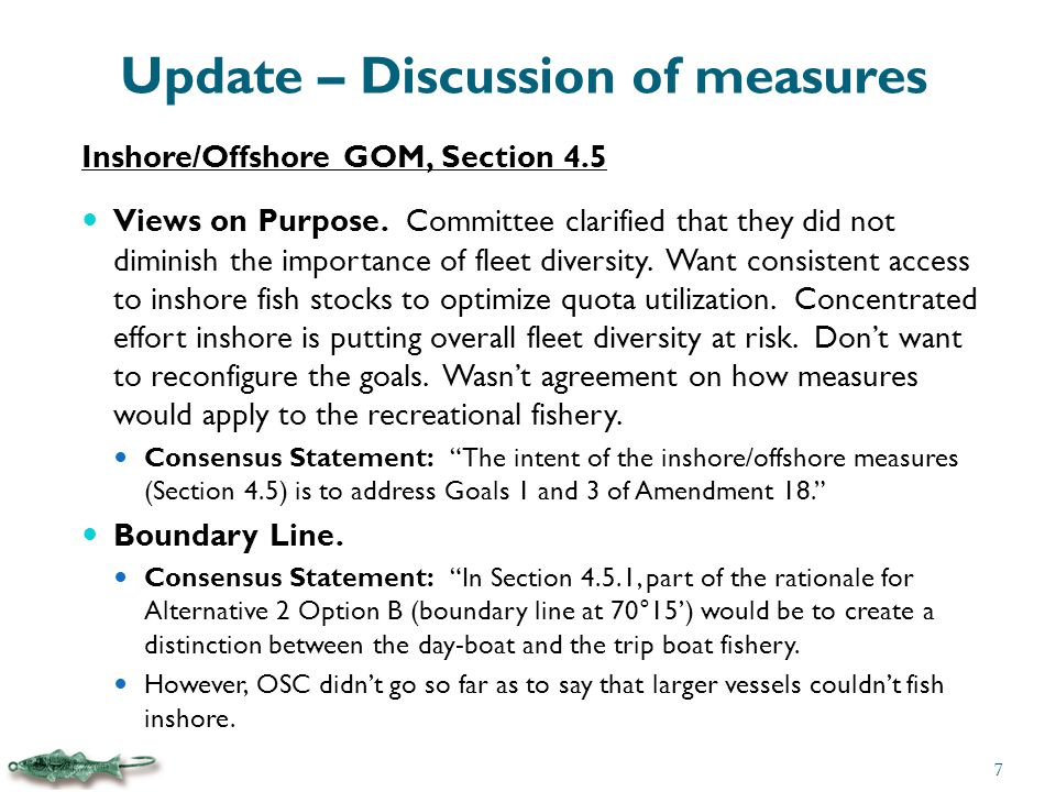 Update – Discussion of measures Inshore/Offshore GOM, Section 4.5 Sub-ACLs.