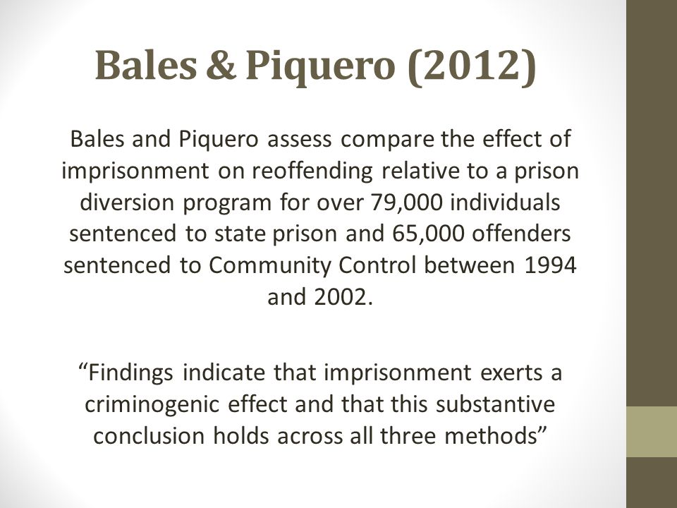 Bales & Piquero (2012) Bales and Piquero assess compare the effect of imprisonment on reoffending relative to a prison diversion program for over 79,0