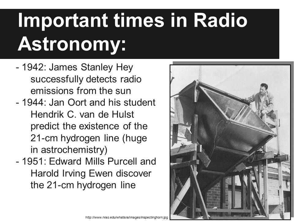 Important times in Radio Astronomy: - 1942: James Stanley Hey successfully detects radio emissions from the sun - 1944: Jan Oort and his student Hendr