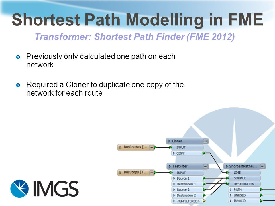 Previously only calculated one path on each network Required a Cloner to duplicate one copy of the network for each route Shortest Path Modelling in F