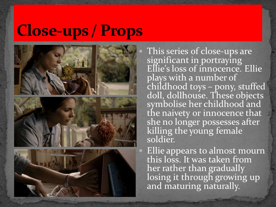 The setting of the treehouse is important in conveying the loss of innocence in Ellie's character.
