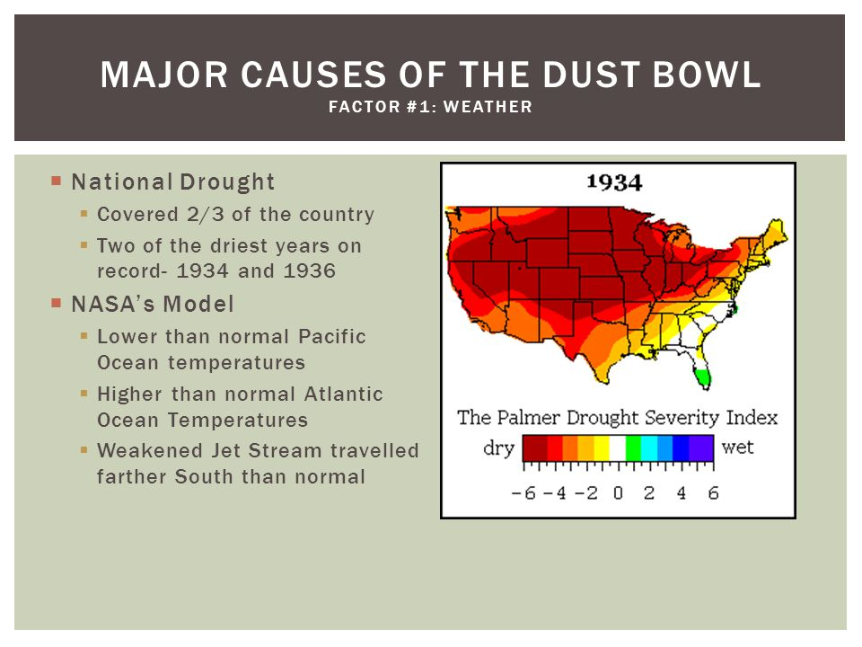  National Drought  Covered 2/3 of the country  Two of the driest years on record- 1934 and 1936  NASA's Model  Lower than normal Pacific Ocean temperatures  Higher than normal Atlantic Ocean Temperatures  Weakened Jet Stream travelled farther South than normal MAJOR CAUSES OF THE DUST BOWL FACTOR #1: WEATHER
