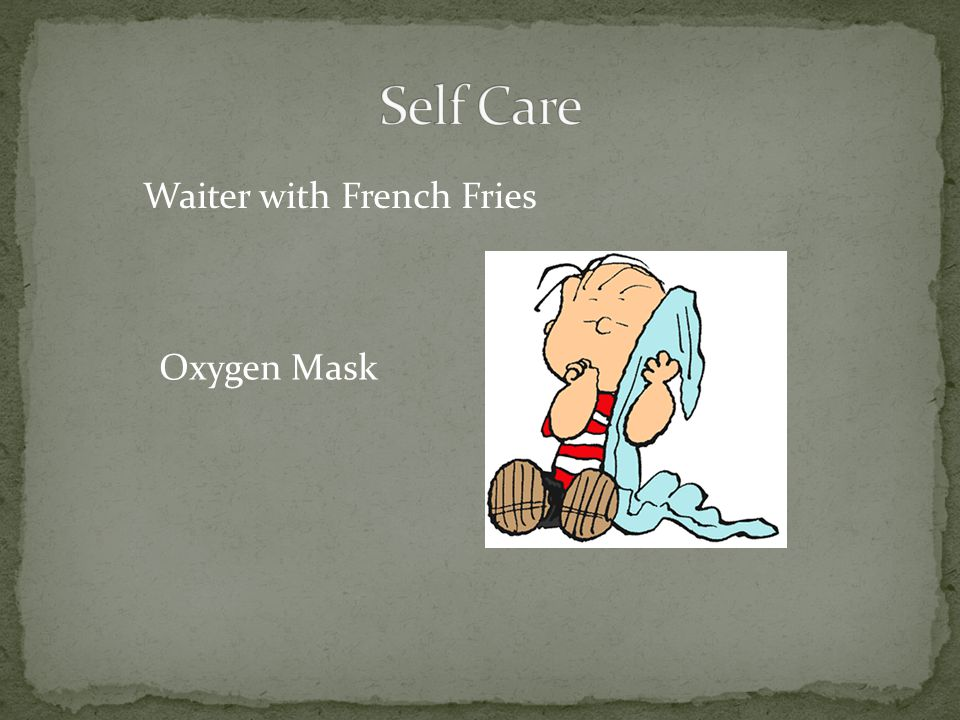 Waiter with French Fries Oxygen Mask