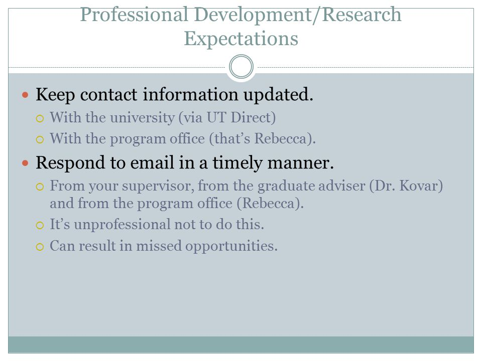 Professional Development/Research Expectations Keep contact information updated.