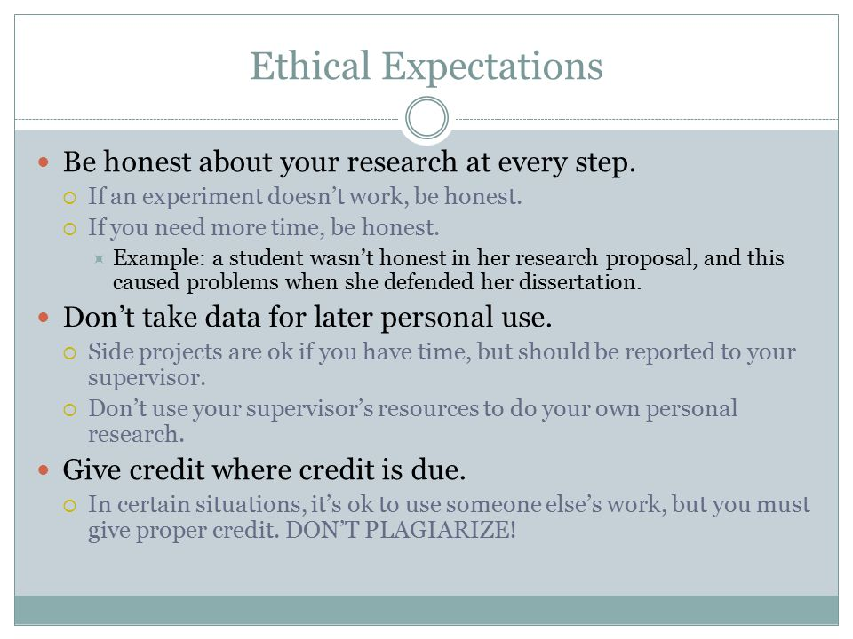 Ethical Expectations Be honest about your research at every step.