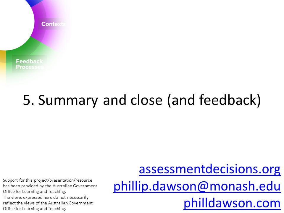 assessmentdecisions.org phillip.dawson@monash.edu philldawson.com 5.