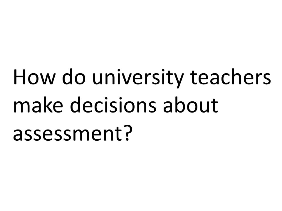 How do university teachers make decisions about assessment?