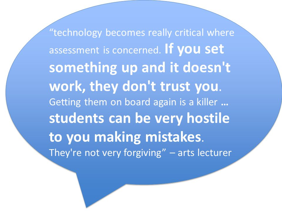 technology becomes really critical where assessment is concerned.