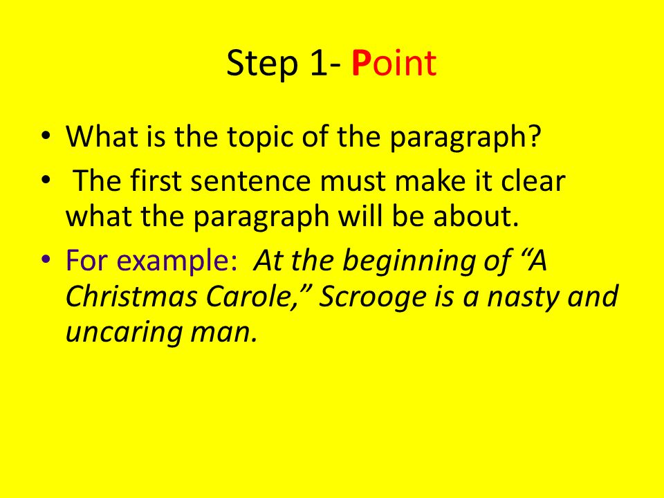 Step 1- Point What is the topic of the paragraph.