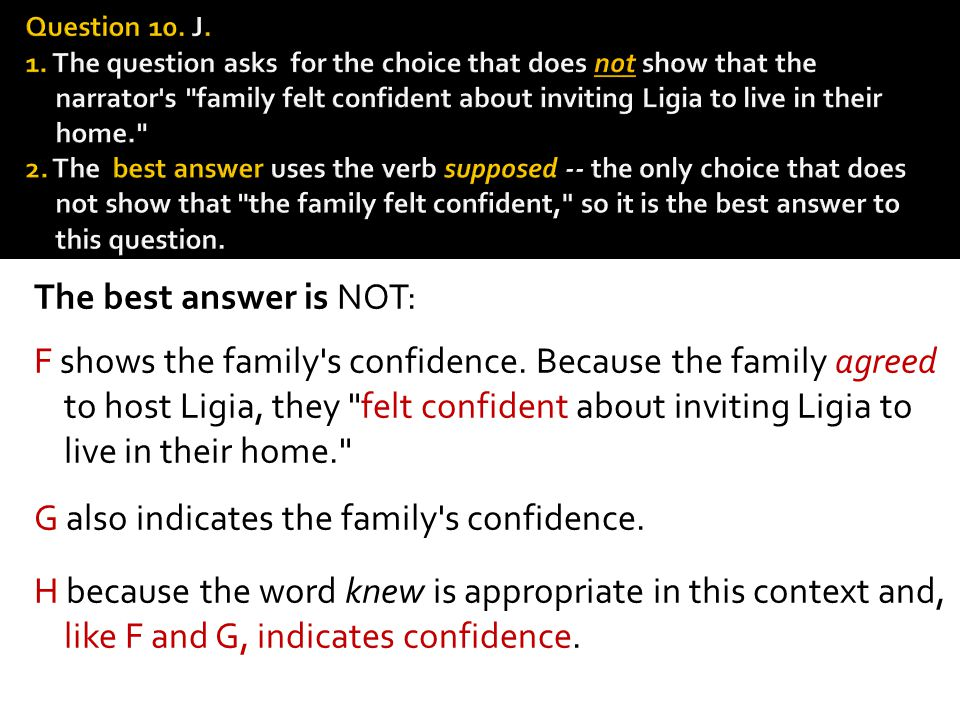 The best answer is NOT: F shows the family's confidence. Because the family agreed to host Ligia, they