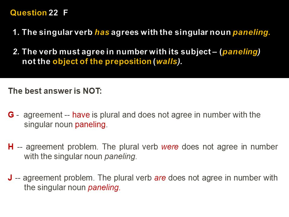 The best answer is NOT: G - agreement -- have is plural and does not agree in number with the singular noun paneling. H -- agreement problem. The plur