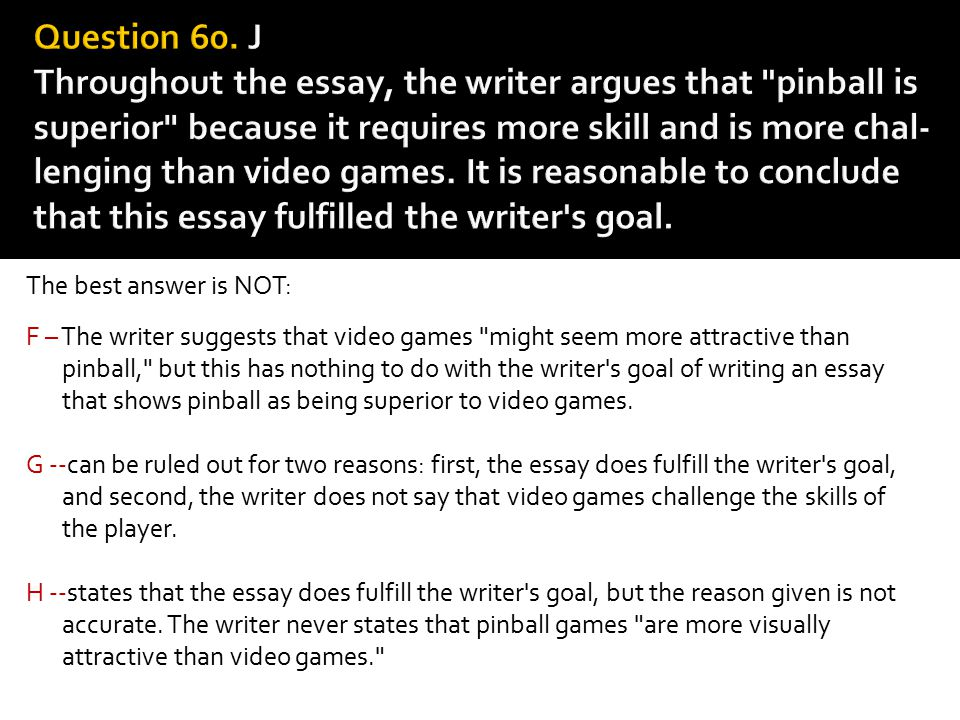 The best answer is NOT: F – The writer suggests that video games