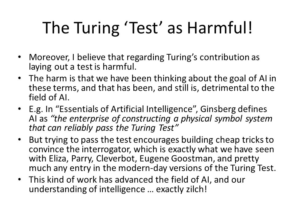 The Turing 'Test' as Harmful.