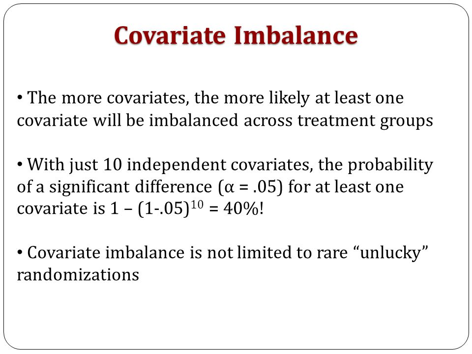 The obvious choice may be to set limits on the acceptable balance for each covariate individually This destroys the joint distribution of the covariates One Measure of Balance