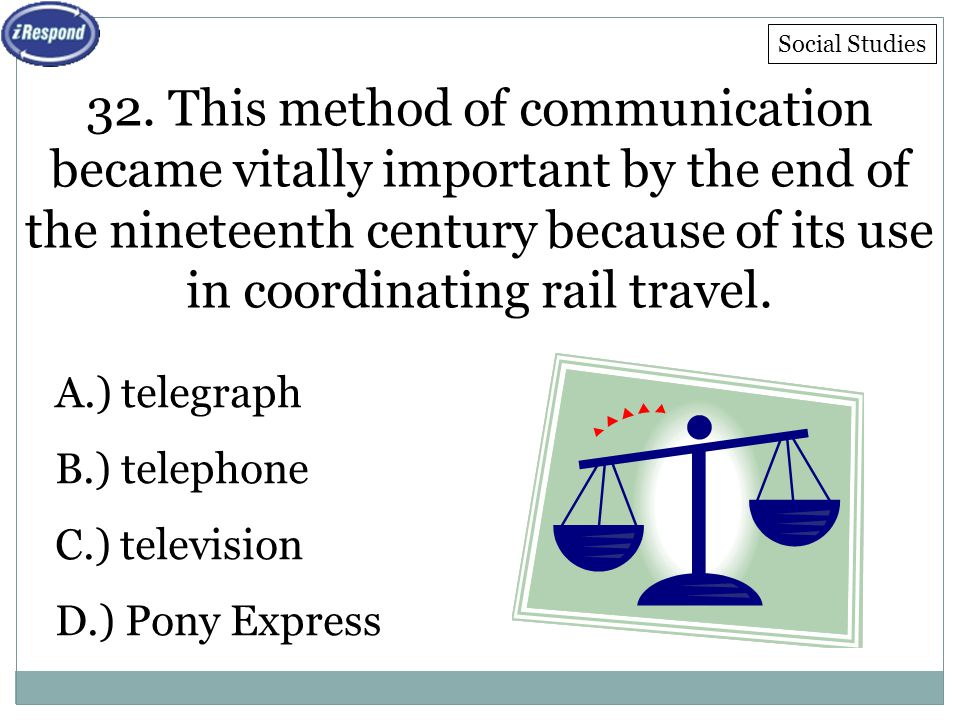 32. This method of communication became vitally important by the end of the nineteenth century because of its use in coordinating rail travel. A.) tel