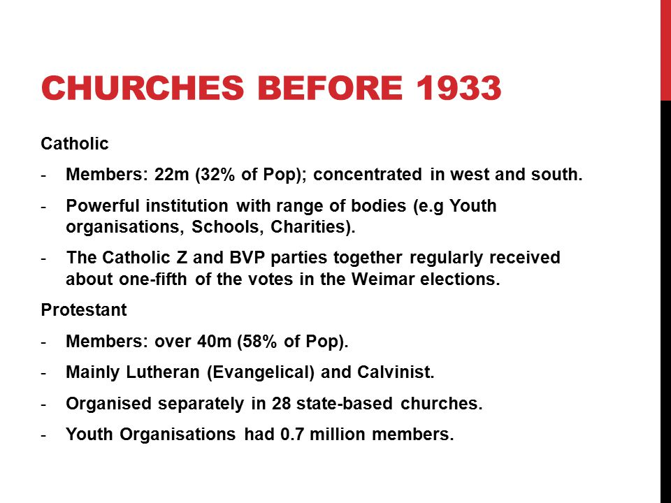 CHURCHES BEFORE 1933 Catholic -Members: 22m (32% of Pop); concentrated in west and south. -Powerful institution with range of bodies (e.g Youth organi