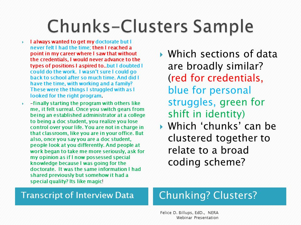 Transcript of Interview Data Chunking? Clusters?  I always wanted to get my doctorate but I never felt I had the time; then I reached a point in my c