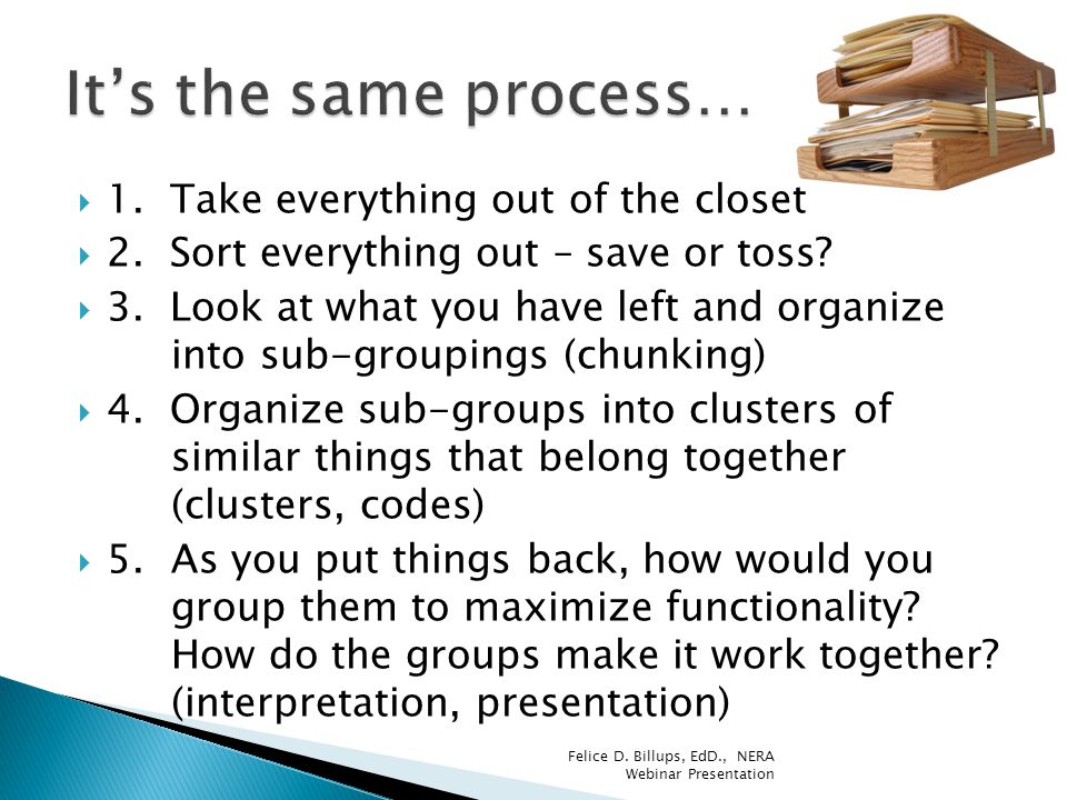  1. Take everything out of the closet  2. Sort everything out – save or toss?  3. Look at what you have left and organize into sub-groupings (chunk