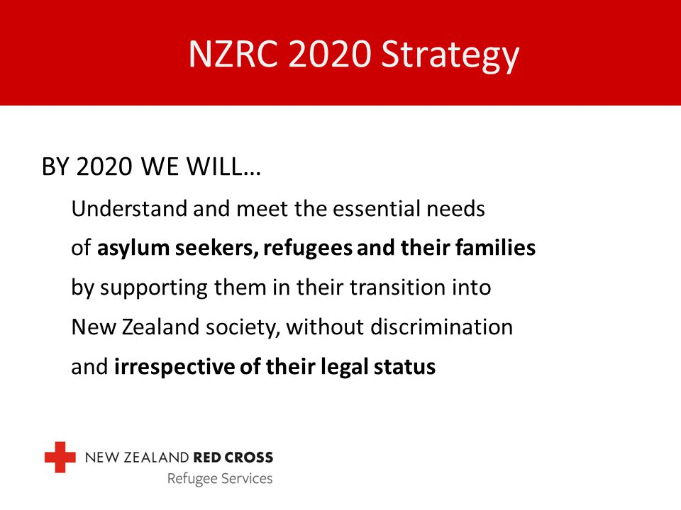 NZRC 2020 Strategy BY 2020 WE WILL… Understand and meet the essential needs of asylum seekers, refugees and their families by supporting them in their