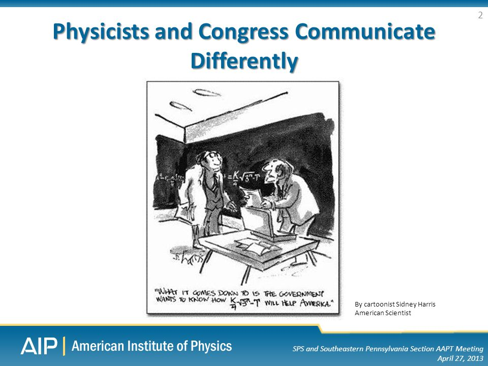SPS and Southeastern Pennsylvania Section AAPT Meeting April 27, 2013 Physicists and Congress Communicate Differently 2 By cartoonist Sidney Harris American Scientist