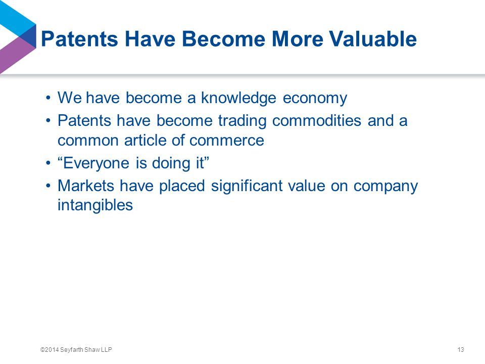 ©2014 Seyfarth Shaw LLP Patents Have Become More Valuable We have become a knowledge economy Patents have become trading commodities and a common arti