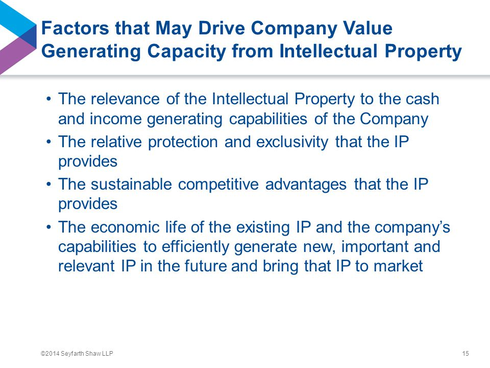 ©2014 Seyfarth Shaw LLP Factors that May Drive Company Value Generating Capacity from Intellectual Property The relevance of the Intellectual Property to the cash and income generating capabilities of the Company The relative protection and exclusivity that the IP provides The sustainable competitive advantages that the IP provides The economic life of the existing IP and the company's capabilities to efficiently generate new, important and relevant IP in the future and bring that IP to market 15