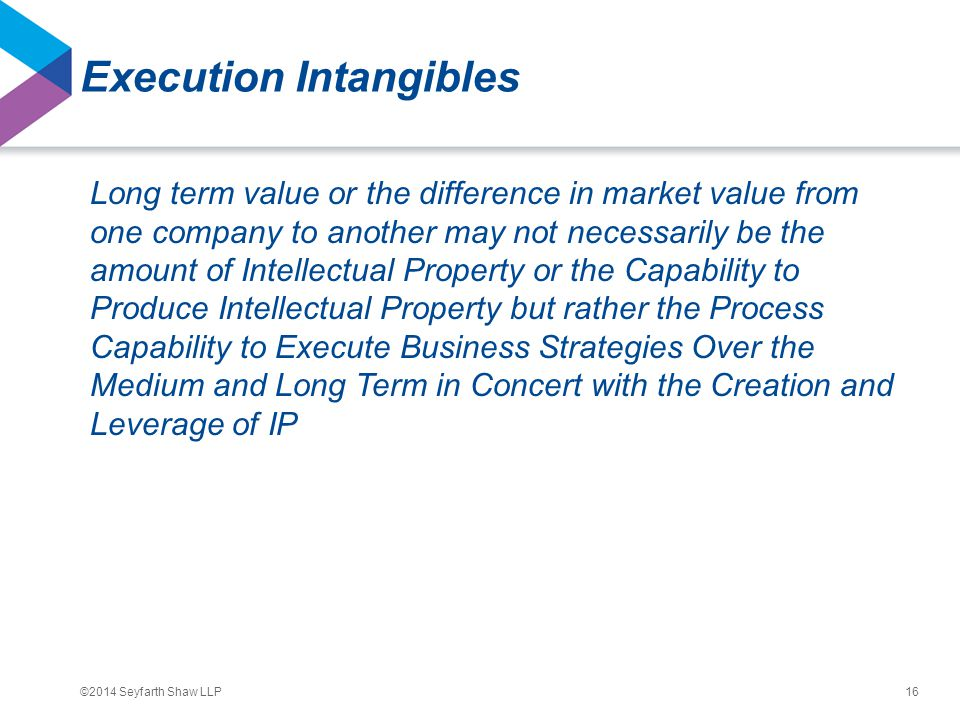 ©2014 Seyfarth Shaw LLP Execution Intangibles Long term value or the difference in market value from one company to another may not necessarily be the