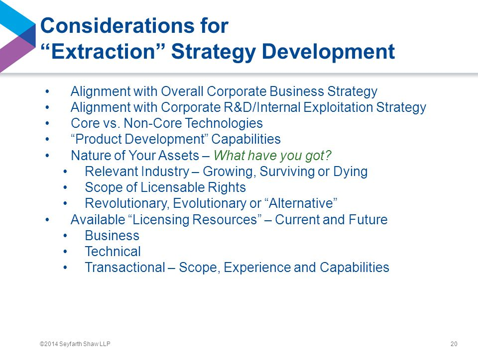 """©2014 Seyfarth Shaw LLP Considerations for """"Extraction"""" Strategy Development Alignment with Overall Corporate Business Strategy Alignment with Corpora"""