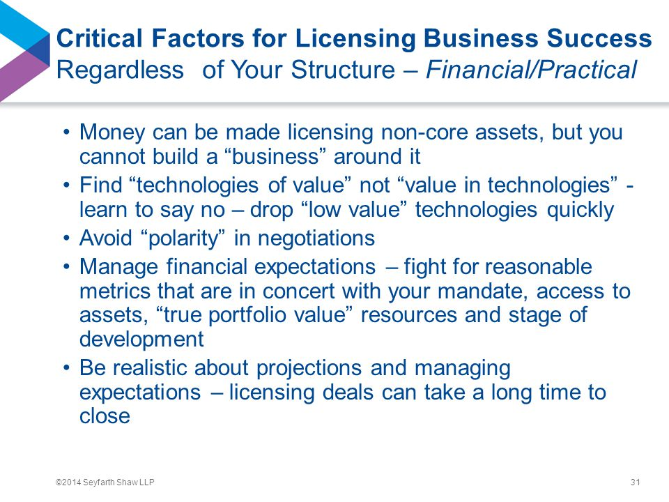 ©2014 Seyfarth Shaw LLP Critical Factors for Licensing Business Success Regardless of Your Structure – Financial/Practical Money can be made licensing non-core assets, but you cannot build a business around it Find technologies of value not value in technologies - learn to say no – drop low value technologies quickly Avoid polarity in negotiations Manage financial expectations – fight for reasonable metrics that are in concert with your mandate, access to assets, true portfolio value resources and stage of development Be realistic about projections and managing expectations – licensing deals can take a long time to close 31