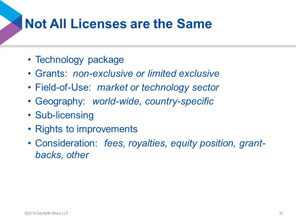 ©2014 Seyfarth Shaw LLP Not All Licenses are the Same Technology package Grants: non-exclusive or limited exclusive Field-of-Use: market or technology sector Geography: world-wide, country-specific Sub-licensing Rights to improvements Consideration: fees, royalties, equity position, grant- backs, other 32