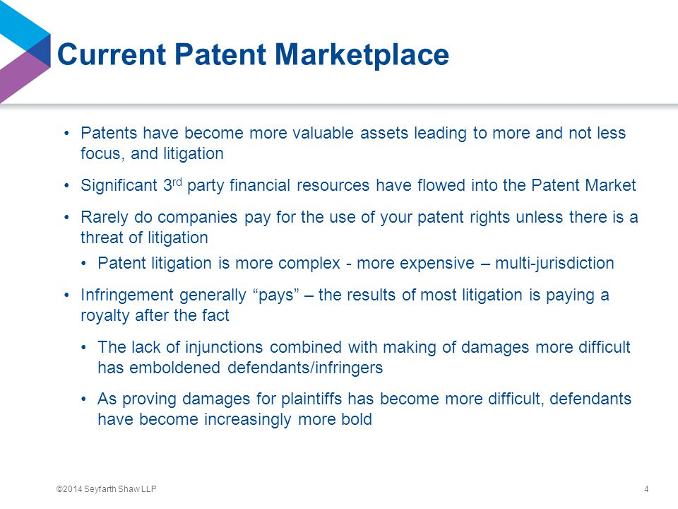 ©2014 Seyfarth Shaw LLP Current Patent Marketplace Patents have become more valuable assets leading to more and not less focus, and litigation Signifi