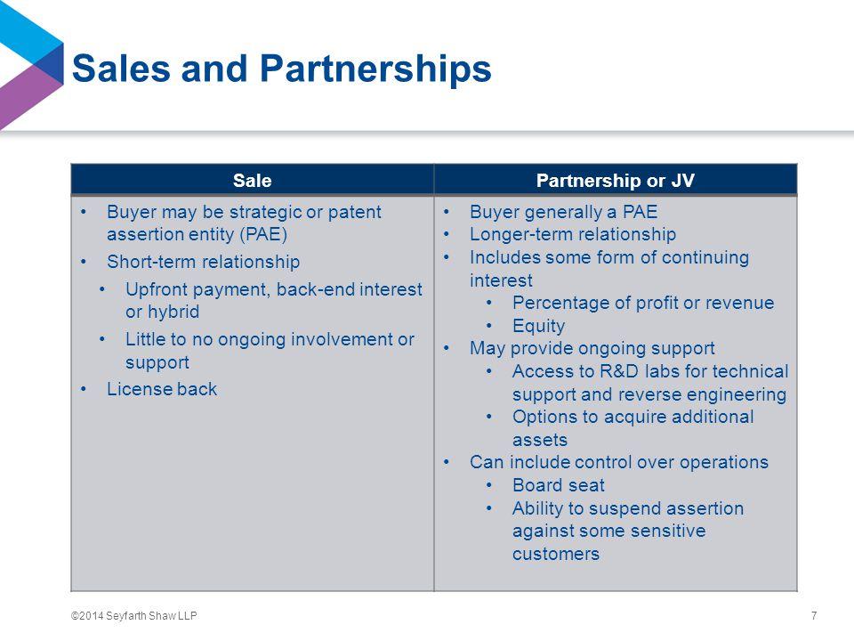 ©2014 Seyfarth Shaw LLP Sales and Partnerships SalePartnership or JV Buyer may be strategic or patent assertion entity (PAE) Short-term relationship U