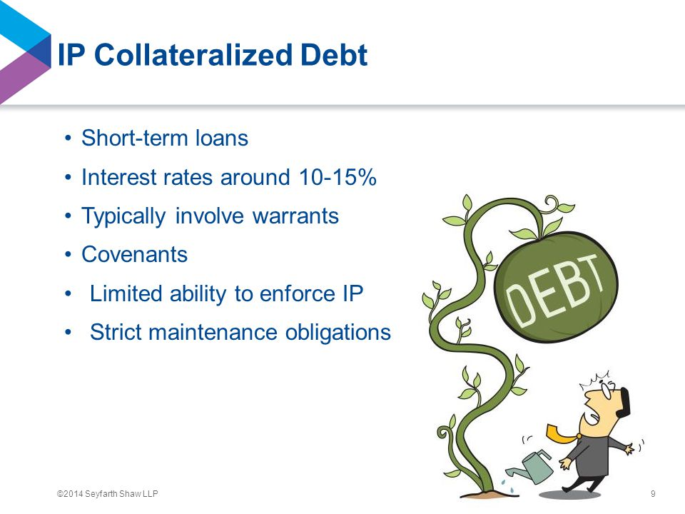 ©2014 Seyfarth Shaw LLP IP Collateralized Debt Short-term loans Interest rates around 10-15% Typically involve warrants Covenants Limited ability to e