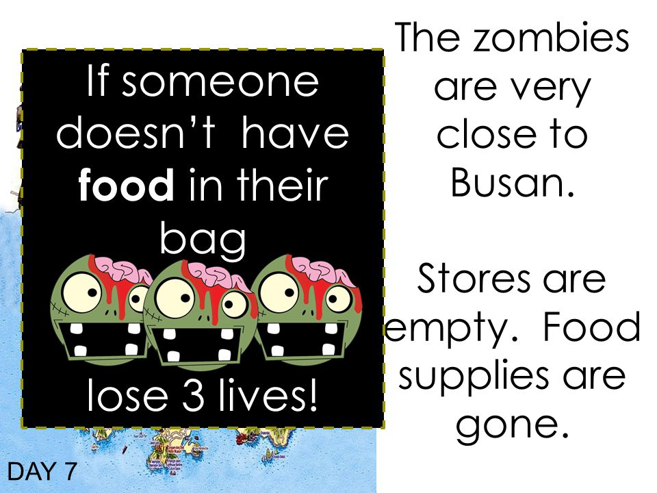 The zombies are very close to Busan. Stores are empty.
