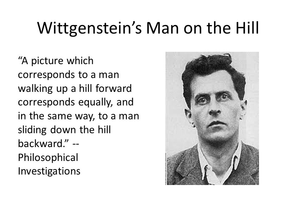 "Wittgenstein's Man on the Hill ""A picture which corresponds to a man walking up a hill forward corresponds equally, and in the same way, to a man slid"