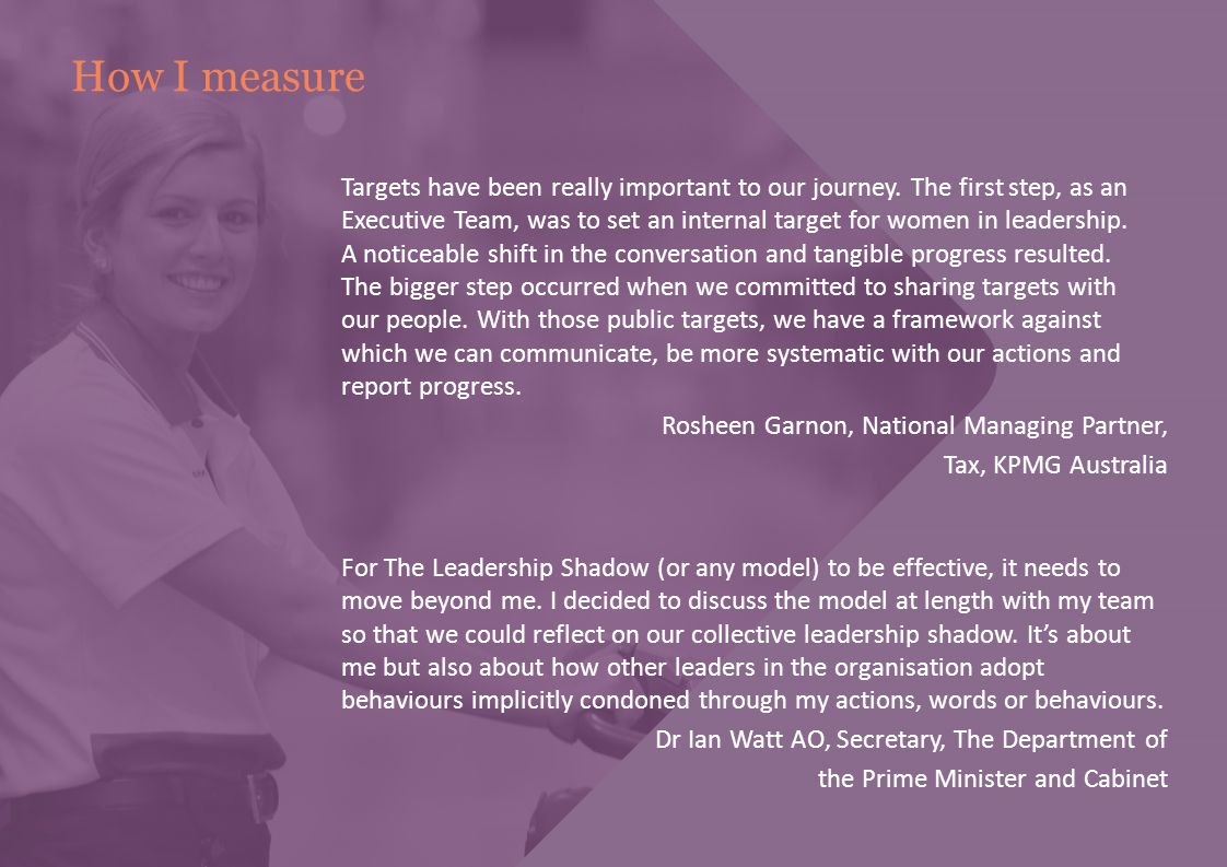 How I measure Targets have been really important to our journey. The first step, as an Executive Team, was to set an internal target for women in lead