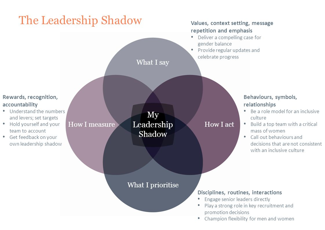 The Leadership Shadow What I say What I prioritise How I actHow I measure My Leadership Shadow Disciplines, routines, interactions Engage senior leade